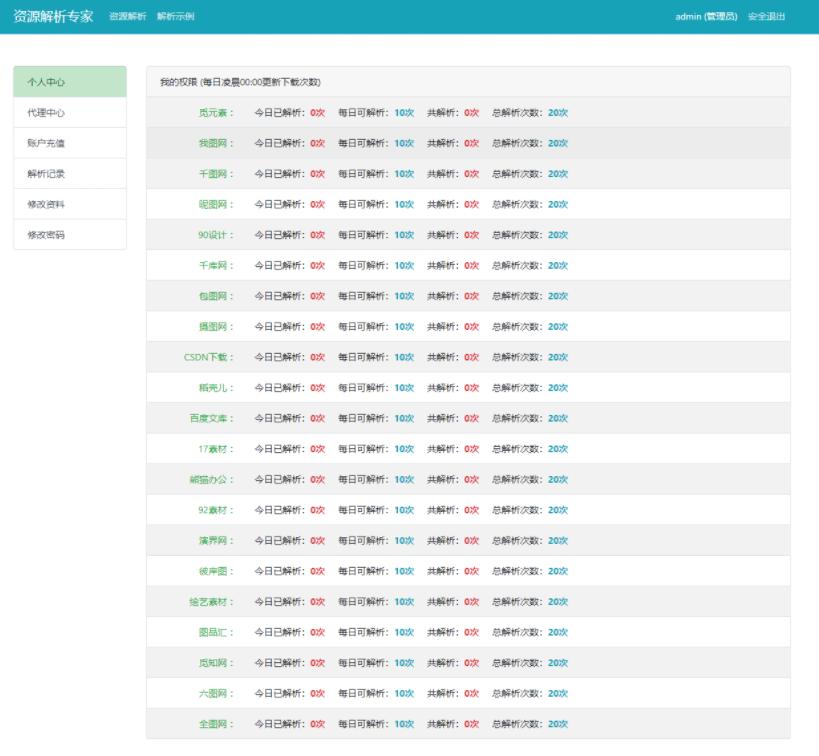 素材网站解析源码支持21个网站解析可搭建运营